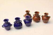 NEW Set of 3 x Dolls House Ceramic Vase Ornaments 1:12 Scale - Colour Choice