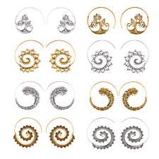 Bohemian Fashion Women Metal Spiral Brass Gypsy Hoops Earrings Tribal Jewelry