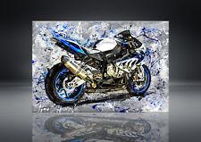 BMW HP4 S1000RR Leinwand Bild Motorrad Deko Wandbild Poster XXL Akrapovic
