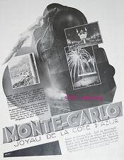 PUBLICITE MONTE CARLO JOYAU DE LA COTE D'AZUR TRAIN EXPRESS DE 1930 FRENCH AD