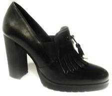 Silvana 5217S Mocassino donna con frangia e tacco colore nero moccassin flâneur