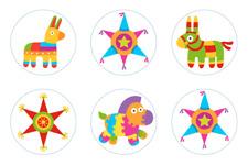Mexican Fiesta Piñata Party  Edible Cupcake Toppers Decoration