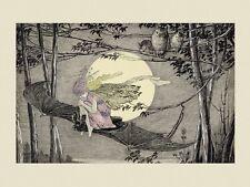 Fairy Girl Bat Owls Halloween  Moon Vintage Poster Repro FREE SHIPPING