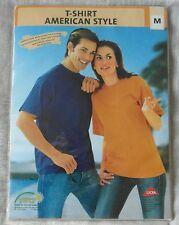 American Style Unisex T-Shirt 100% Puro pettinato Collo Elasticizzato Fascia Sz M