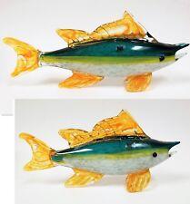 HQT MURANO STYLE GREEN+WHITE+ORANGE ART GLASS MARLIN FISH, PAPER WEIGHT FIGURINE