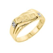 "Oro Amarillo Macizo Hombres Diamante"" Papá ""Anillo"