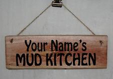 Personalised MUD KITCHEN Hanging Door Sign Plaque Wood Home School Decor Garden