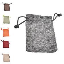 10 Linen Jute Hessian Sack Jewelry Pouch Drawstring Bags Wedding Favour tb