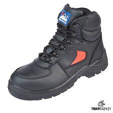 Himalayan 3414 S1P SRC Puntera De Acero Cuero Rojo Negro Botas De Seguridad Botas De Trabajo