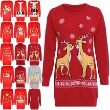 Femmes Noël Noël deux Renne Pull à manches longues Sweat Robe Top