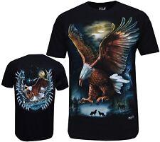 New Eagle Lobo Indio Nativo Americano Biker Camiseta Impresión Frontal y Trasero M - 3XL