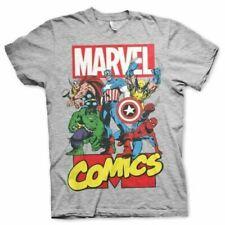 Mens Marvel Comics Superheroes Grey T-Shirt - Crew Neck Retro Movie Tee