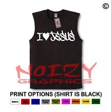 I Love Jesus #2 Christian SLEEVELESS Shirt Jesus Religious Muscle Tee Graffiti