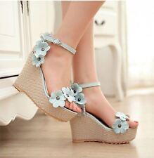 Sandalias de mujer azul abierto cuerda margaritas cuña 11 cm elegante y cómodo