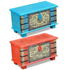 Indische Holztruhe Wäschetruhe Schatztruhe Aufbewahrungsbox Mangoholz Rot/ Blau