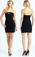 $298 BCBG Maxazria Black Keyhole Cutout w/ Piping Jean Strapless Dress UYS6T735