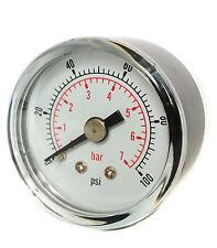 50 mm Jauge de Pression 1/4 BSPT horizontale 0/15, 30,60.100,160,300 PSI & BAR.