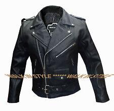 Homme cuir véritable veste noir motard moto style cuir véritable manteau