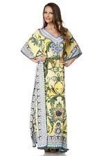 Caftan bleu vert jaune femme tunique strass fashion floral original uy 14677