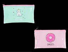 Magical Pencil Case Fun Pink or Green Doughnut Unicorn Strong PVC with Zip