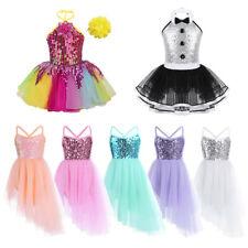 Girls Sequins Ballet Dance Dress Kid Leotard Latin Ballroom Dancing Tutu Costume