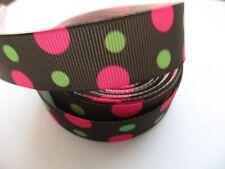 """Grosgrain Pink and Green Polka Dot Ribbon 7/8"""" 22mm"""