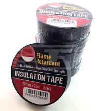 BLACK ELECTRICAL PVC INSULATION / INSULATING  TAPE 18mm x 25m FLAME RETARDANT