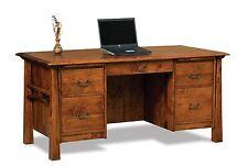 Amish Mission Computer File Desk Artesa Bow Top Solid Wood Office Furniture