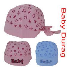 NEW BORN BABY KIDS HAT COTTON  DURAG STAR HEAD WRAP SCARF GIRL BOY PINK OR BLUE