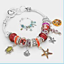 Murano Glass Crystal Bracelet Starfish Turtle Multi Beaded Charm Seahorse Shell