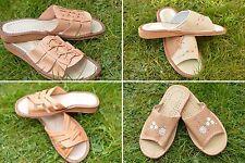Mesdames femmes 100% cuir chaussons intérieur/extérieur confortable taille uk 4 5 6 7