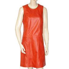 OAKWOOD Robe cuir agneau orange femme leather dress taille M