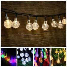 20 30 50 LED Solar Gardern Lights String Fairy Raindrop Crystal Xmas Outdoor New