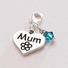 Gift for Mum Birthstone Charm,  Heart Charm, Lobster Clasp, for Bracelet