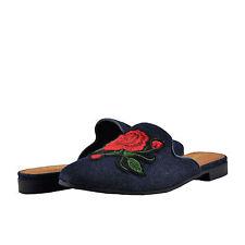 Women's Shoes Paprika Temper Floral Embellished Slip On Loafer Blue *New*