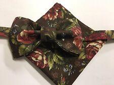 Custom Mens Brown Floral Bow Tie & Handkerchief Handmade Pre-tied Adjustable