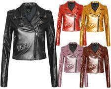 New Ladies Women Vintage Crop Biker Style Side Zip PU Leather Collar Jacket Top