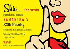 PERSONALISED BIRTHDAY PARTY INVITES Surprise Invitations Pop Art