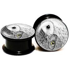 "PAIR Yin Yang Owl Acrylic-Ear-Plugs-Screw-Fit-Ear-Gauges-Flesh-Tunnels 2g - 1"""