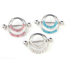 1/2X New Crystal Rhinestone Round Body Nipple Bar Barbell Piercing Ring Jewelry