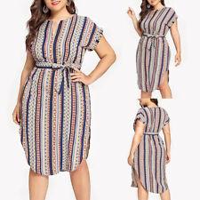 CA Women Plus Size Casual Colorful Stripe Print Short Sleeve Bandage Dress