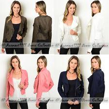 Womens Moto Blazer Outwear Open Front Zipper Winter Autumn Office Slim Cardigan