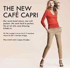 J.CREW Aqua Nvy Guava Beige Blu 100% WOOL CAFE CAPRI Trouser PANTS Slacks 8 10 P
