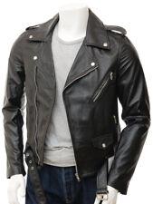 Black Leather Jacket for Men Biker Moto Pure Lambskin Size S M L XL XXL TBLC