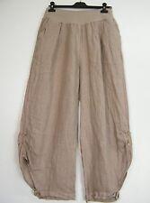 LOOK a strati 100% lino ITALIAN Pantaloni in 11 COLORI TAGLIE FORTI unica 16-20