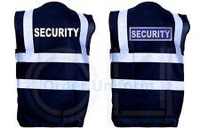 Black Security Hi Viz Vis Vest Reflective Safety High Visibility Waistcoat