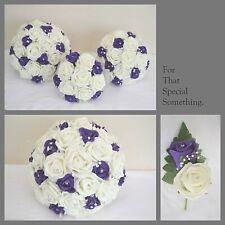 Brides bouquet with purple & ivory, Bridesmaid posy, buttonholes, wrist corsage