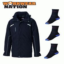 Dickies trabajo Workwear Atherton Impermeable Chaqueta Abrigo Negro Libre Calcetines