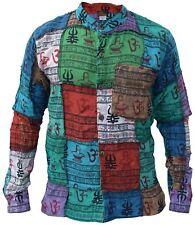 Gheri Mens Om Patchwork Grandad Full Button Shirt Summer Printed Ethnic Cotton