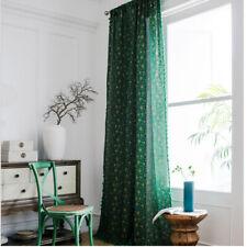 Green Printed Curtain Tassel Sheer Curtain Window Panel Screen Drape Bedroom New